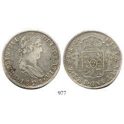 Zacatecas, Mexico, bust 8 reales, Ferdinand VII, 1821RG, rare variety with superscript s after denom