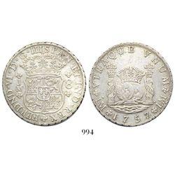 Lima, Peru, pillar 8 reales, Ferdinand VI, 1757/6JM, very rare overdate.