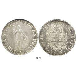 Lima, Peru, 8 reales, 1826JM, encapsulated ANACS AU 55.