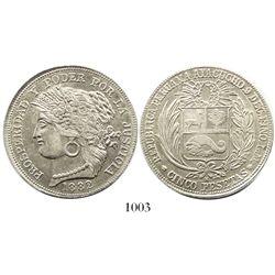 Ayacucho, Peru, 5 pesetas, 1882LM, M below wreath.