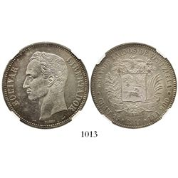 Venezuela (struck in Paris), (5 bolivares), 1911, wide date, encapsulated NGC AU 58, finest and only