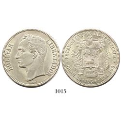 Venezuela (struck in Philadelphia), (5 bolivares), 1936, high 3.