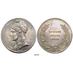 Potosi, Bolivia, large and heavy silver medal, 1865, Mariano Donato Munoz, ex-Derman.