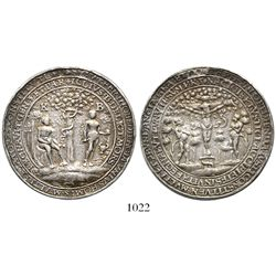 Germany/Bohemia, silver medal, Adam and Eve next to tree of knowledge / crucifixion scene, copied af