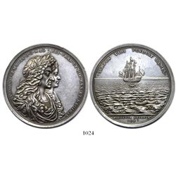 Great Britain, large silver medal, James II, salvage of the Concepción by William Phips in 1687.