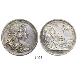 Great Britain, silver medal, William III and Mary I, 1689, coronation.