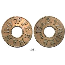 Puerto Rico, copper military control entry token, Ferdinand VII (early 1800s), rare, ex-Roehrs with