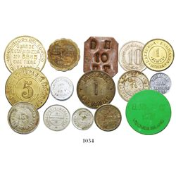Lot of 15 miscellaneous Puerto Rican commercial and hacienda tokens from various places within the i