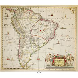 "Large, Dutch map of South America entitled ""AMERICAE PARS MERIDIONALIS,"" ca. 1640, by Jan Jansson (A"