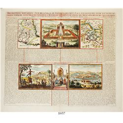 "Very rare and important early engraving/map of Mexico entitled ""DESCRIPTION, SITUATION & VUE DE LA V"