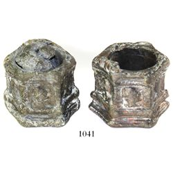 Lot of two pewter-on-lead inkwells.