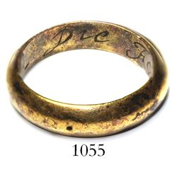 "Men's gold-plated bronze ring engraved with ""Die For Love"" inside."