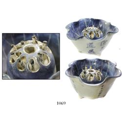 Lot of 2 Chinese blue-on-white porcelain lotus-flower cups with rising stamens in centers painted as
