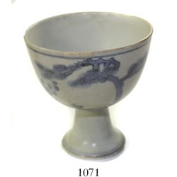 Small Chinese blue-on-white porcelain cup on pedestal, rare design, ex-Hatcher.
