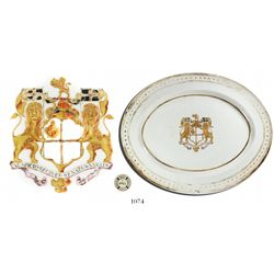 Intact porcelain plate with British East India Co. arms in gold.