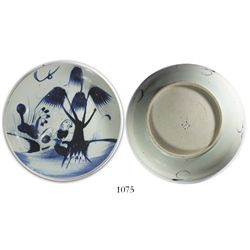 Chinese blue-on-white porcelain bowl, tree and plants motif, intact.