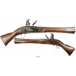 Flintlock blunderbuss pistol, mid- to late 1700s, German, marked HALBERD / BAVARIA.