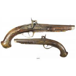 German gentleman's flintlock-to-percussion pistol, ca.1760-1780.