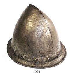 Spanish military cabasset helmet, 1600s.