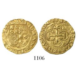 Seville, Spain, 1 escudo, Charles-Joanna, assayer * to right, mintmark S to left.