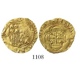 Seville, Spain, 1 escudo, Charles-Joanna, assayer Gothic D to right, mintmark S to left.