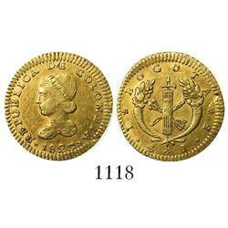 Bogota, Colombia, 1 escudo, 1825JF.