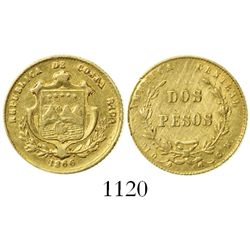 Costa Rica, 2 pesos, 1866GW, rare, ex-Caballero de las Yndias.