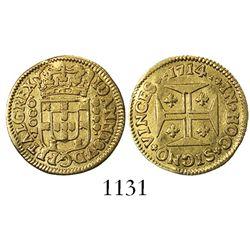 Lisbon, Portugal, 1000 reis, Joao V, 1714.