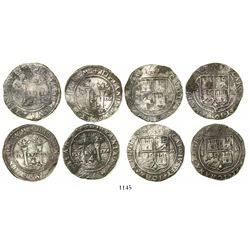 "Lot of 4 Mexico City, Mexico, 4 reales, Charles-Joanna, ""Late Series,"" all assayer L."