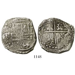 Potosi, Bolivia, cob 8 reales, Philip III, assayer T, upper half of shield and quadrants of cross tr