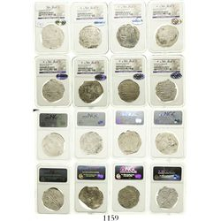 Lot of 8 Potosi, Bolivia, cob 8 reales, Philip II and III, assayers B, R, Q, M and T, all Grade 2.