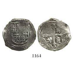 Mexico City, Mexico, cob 2 reales, Philip IV, assayer not visible.
