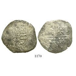 Potosi, Bolivia, cob 8 reales, Philip IV (1630s or 40s), assayer not visible, rare provenance.
