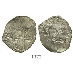 Potosi, Bolivia, cob 2 reales, 1652E (post-transitional), 1-PH-6 at top.