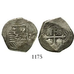 Mexico City, Mexico, cob 2 reales, Philip IV, assayer P (1660s).
