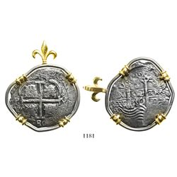 Potosi, Bolivia, cob 8 reales, 1680V, mounted in silver bezel with 14K prongs and fleur-de-lis bail.