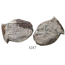 Mexico City, Mexico, cob 4 reales, Philip V, assayer not visible (J), scarce error with denomination