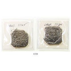 Lot of 2 Mexico City, Mexico, cob 8 reales, 1732F.