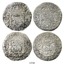 Lot of 2 Mexico City, Mexico, pillar 8 reales, Philip V, 1732F, rare first date of series.