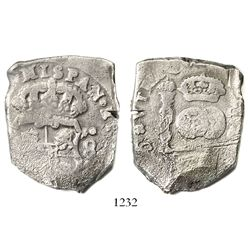 Guatemala, cob 8 reales, Philip V, date and assayer (J) not visible, scarce provenance.