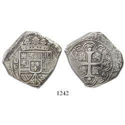 Mexico City, Mexico, klippe 8 reales, (1733)MF, cob-style planchet.