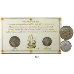 Lot of two Mexico City, Mexico, pillar coins (8R 1739MF and 4R 1740MF with 4/3) in a custom-printed