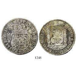Mexico City, Mexico, pillar 8 reales, Philip V, 1743MF, ex-Bir.