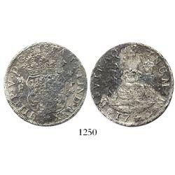 Mexico City, Mexico, pillar 4 reales, Philip V, 1742MF, narrow date.