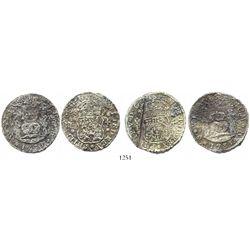 Lot of 2 Mexico City, Mexico, pillar 4 reales, Philip V, 1735MF.