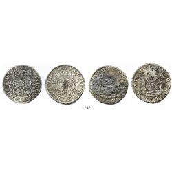 Lot of 2 Mexico City, Mexico, pillar 4 reales, Philip V, 1738MF.