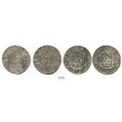 Lot of 2 Mexico City, Mexico, pillar 4 reales, Philip V, 1740MF, narrow date.