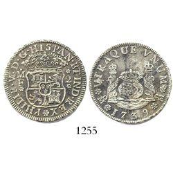 Mexico City, Mexico, pillar 2 reales, Philip V, 1739MF, large date.