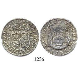 Mexico City, Mexico, pillar 2 reales, Philip V, 1739MF, small date.
