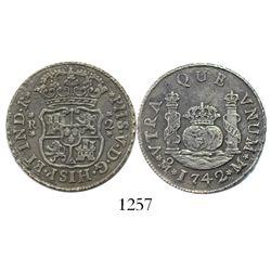 Mexico City, Mexico, pillar 2 reales, Philip V, 1742M.